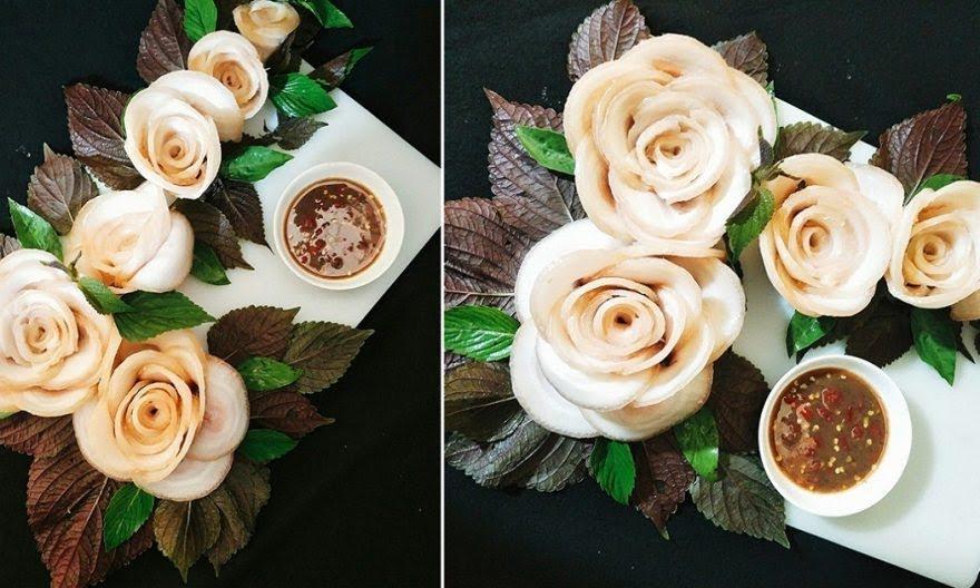 Hướng dẫn cách làm hoa hồng bằng thịt luộc chấm mắm tôm