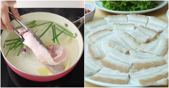 Mẹo nhỏ giúp thịt heo luộc luôn thơm và trắng