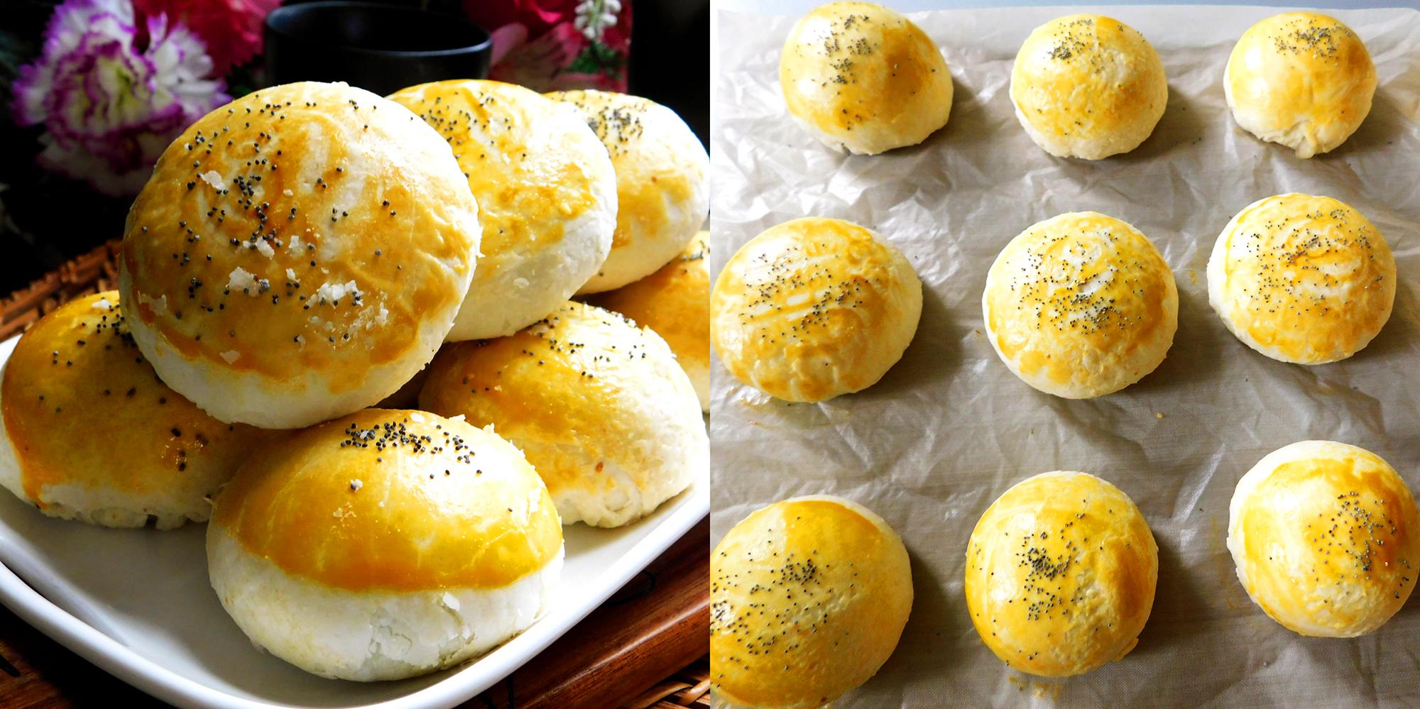 Cách làm bánh trung thu Đài Loan nhân trứng muối chà bông ngon ngất ngây