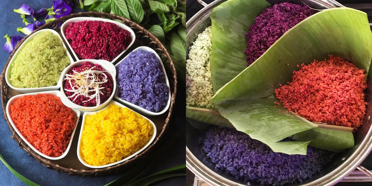 Cách nấu xôi ngũ sắc thơm ngon đẹp mắt dễ làm từ những nguyên liệu tự nhiên